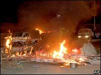 A burning vehicle in Baroda