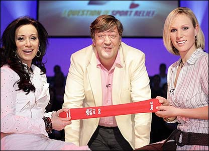 Nancy Dell'Olio and Zara Phillips pose with Question Of Sport Relief host Stephen Fry