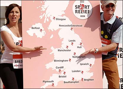 Davina McCall and Chris Evans show the locations that the mass mile will take place