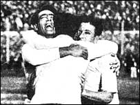 Uruguay's Lorenzo Fernandez, Pedro Cea and Hector Scarone celebrate World Cup success