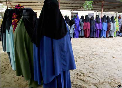 Chadian women queuing at a polling station