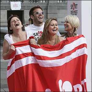 Davina McCall shares a joke with Ben Richards,  Zoe Lucker and Sarah Barrand