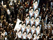 Demonstration in support of Ayatollah Khomeini in Tehran, 1979