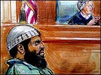 Zacarias Moussaoui in court