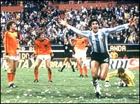 Argentina's Mario Kempes celebrates one of his two goals in the final
