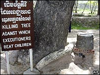 A tree used for killing children at  memorial on the outskirts of the capital Phnom Penh