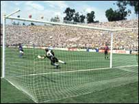 Player of the tournament Roberto Baggio blazes his penalty over the crossbar