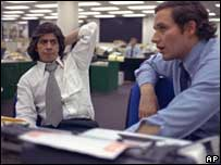 Watergate reporters Carl Bernstein (l) and Bob Woodward, AP