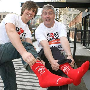 Coronation Street star Richard Fleeshman and Sport Relief stalwart Nick Hancock at the Manchester Sport Relief launch