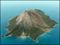 Computer-generated image of Krakatoa before the eruption (BBC)