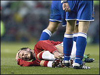 David Beckham suffers in 2002