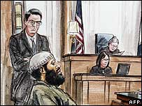 Sketch of Zacarias Moussaoui in court for the verdict