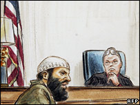 Artist's impression of Moussaoui at sentencing hearing