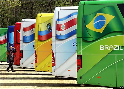 Man photographs World Cup buses in Germany