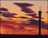 Mobile phone mast at sunset (SPL)