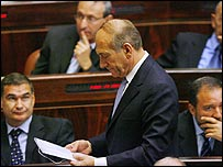Ehud Olmert, about to address the Knesset