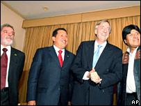 Brazilian President Luiz Inacio Lula da Silva, Venezuelan President Hugo Chavez, Argentine President Nestor Kirchner and Bolivian President Evo Morales