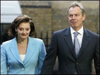 Cherie and Tony Blair go to the polls in Westminster