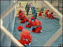 Detainees at Guantanamo Bay, Cuba, in 2002