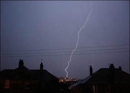 Lightning over Glasgow