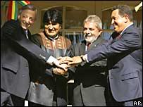 Néstor Kirchner, Evo Morales, Luiz Inacio Lula da Silva y Hugo Chávez