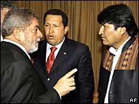 Luiz Inacio Lula da Silva, Evo Morales y Hugo Chávez