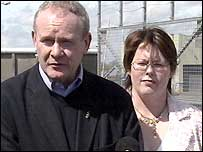 Sinn Fein MPs Martin McGuinness and Michelle Gildernew at the Maze