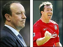 Liverpool boss Rafael Benitez and striker Robbie Fowler