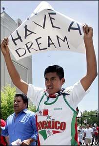 Manifestante inmigrante.
