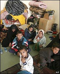 A Shia family in a makeshift refugee camp in Baghdad