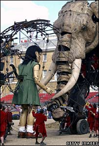 The girl meets the Elephant