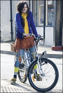 Katy Pritchard on an electric bike