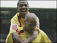 Marlon King (bottom) and Ashley Young (top) both scored