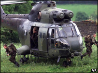 British Army helicopter in action in Northern Ireland