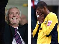 Leyton Orient chairman Barry Hearn was delighted (left) but it was heartbreak for Oxford's Eric Sabin