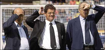 Luciano Moggi, Fabio Capello y Antonio Giraudo.