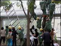 North Koreans trying to enter the Canadian embassy in Beijing in September 2004
