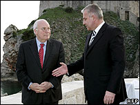 Dick Cheney (left) with Ivo Sanader in Dubrovnik