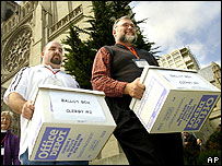 Election workers carry ballot boxes in San Francisco for the vote for a new Episcopal Diocese of California bishop