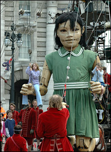 Puppet girl with children