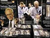 Warren Buffett DVDs on at stall at Berkshire Hathaway's annual meeting