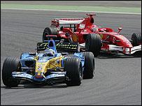 Fernando Alonso leads Michael Schumacher during the European Grand Prix