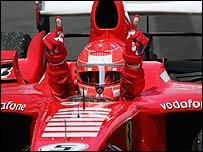 Michael Schumacher celebrates victory in the European Grand Prix