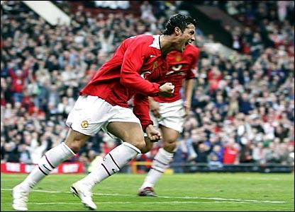 Cristiano Ronaldo celebrates scoring Manchester United's second goal