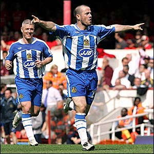 Wigan's David Thompson celebrates after putting Wigan in front
