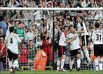 Heidar Helguson (third right) celebrates his penalty winner