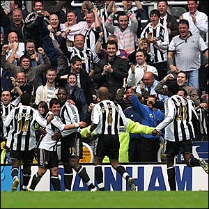 Titus Bramble (centre) is congratulated after scoring the winner against Chelsea