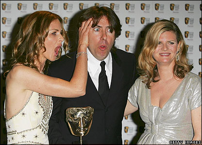 Trinny Woodhall (l), Jonathan Ross and Susannah Constantine