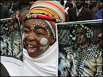 Zuma supporter during a protest outside the High Court in Johannesburg on 2 May 2005
