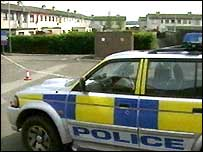 Police vehicle in Ballymena